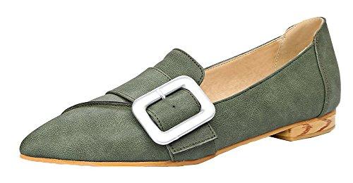AgooLar Damen Weiches Material Ziehen auf Niedriger Absatz Rein Pumps Schuhe Grün