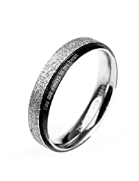 "PMTIER Stainless Steel Silver and Black ""You are always in my heart"" Matte Band Ring Size 4 to 10"