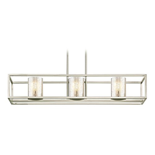 Nickel Chandelier Rectangular (3-Light Linear Chandelier with Mercury Glass in Satin Nickel)