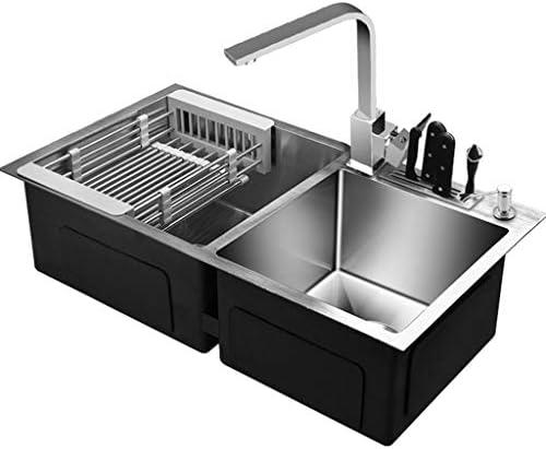 流し台シンク ステンレススチール製スクエアキッチン一体型洗面台 ベッドルームパウダールーム洗面台 ナイフホルダー付きの太めの二重溝 (Color : Gray, Size : 81*43cm)