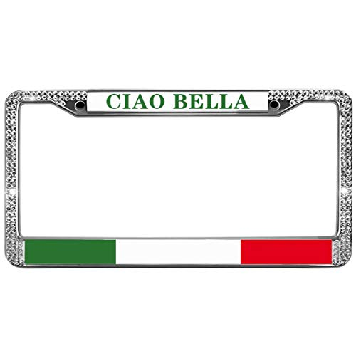 GND Bling Bling License Plate Frame,CIAO Bella Italian Crystal Bling License Plate Frame Proud Italian Flag Crystal Bling Metal Chrome License Plate Frame with Screw caps - Belle Crystal