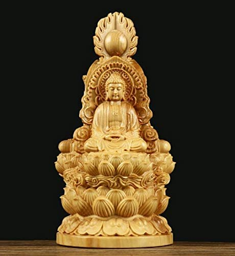 MD431稀少極美精品 ツゲの木彫り 弥陀 観音菩薩 娑婆三聖 実木置物 供奉品仏像 手作り 実木 彫刻工芸品 高級な収蔵品 コレクション。