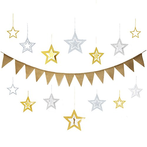 Elhpbwhty 14Pcs Merry Christmas Happy New Year Birthday Congratulations Burlap Banner Diy Flags Kit with Silver/Gold Foil Star Hanging Decorations for Happy New Year 2018 all Party - Christmas Happy New And Year Wishes