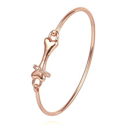 Dog Bone Link (CHUANGYUN Pet Dog Bone with Rhinestone Collar for Animal Lover Open Wire Bangle Bracelet (Rose Gold))