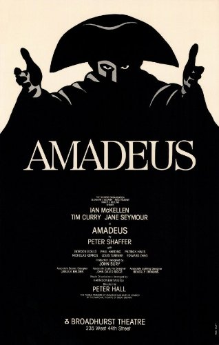 Amadeus Poster Broadway Theater Play 11x17 Tim Curry Ian McKellen Jane Seymour Ronald Bagden