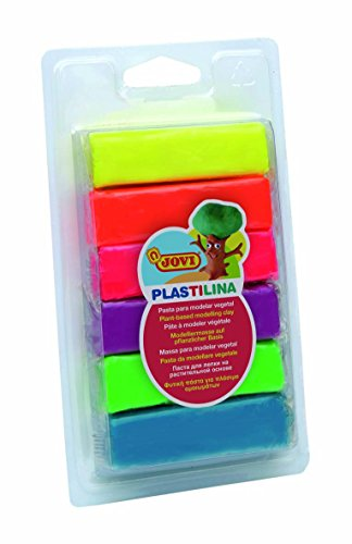 Jovi Plastilina Reusable Neon Non-Drying Modeling Clay; .88 Oz. Bars, Set of 6 Vibrant Neon Colors, Perfect For Arts & Crafts
