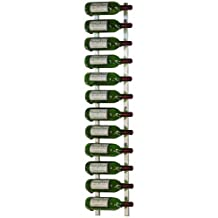 VintageView 12 Bottle Wall Mounted Metal Wine Rack (1 Deep - Brushed Nickel)