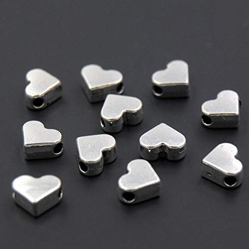 30pcs Silver Plated Heart Shape Small Hole Beads DIY Handmade Charms Bracelets Necklace Accessories ()