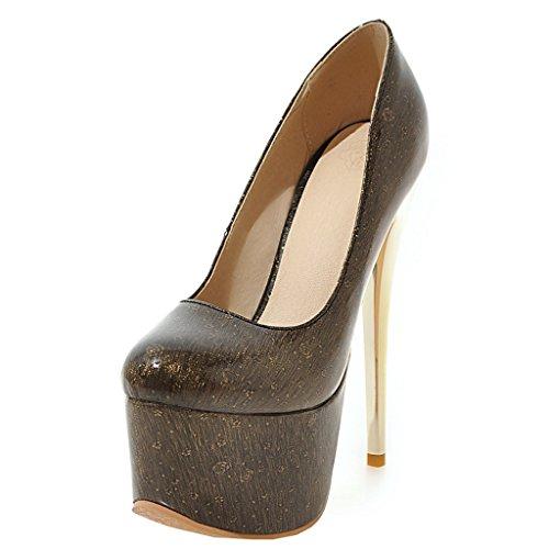 ENMAYER Frauen Schwarz#32 Lackleder Sexy Plattform Stiletto Super High Heels Runde und Peep Toe Pumps Slip auf Hochzeitskleid Court Schuhe 40 B(M) EU