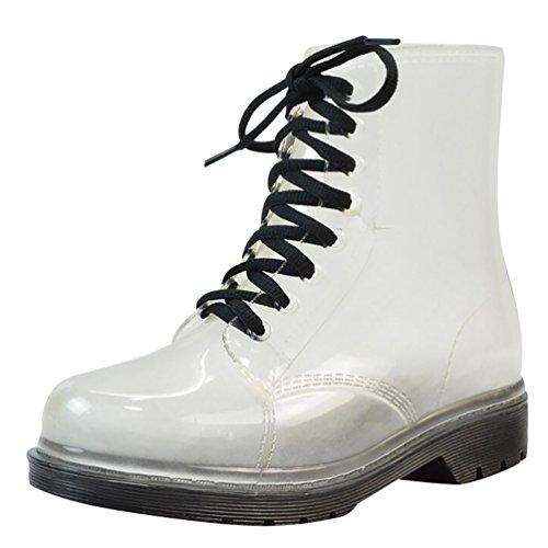 LvRao Mujer Boots de Goma de Lluvia Nieve Calentar Botas de Tobillo Transparente Impermeable Bota Corto con Cordones de Zapatos Negro