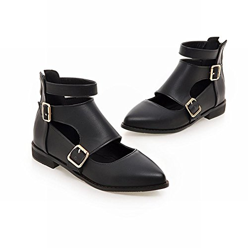 Latasa Womens Pointed-Toe Ankle-Strap Monk Strap Shoes Black itKijl