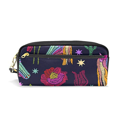 Pencil Case Embroidered Unicorns Fantasy Stars Flowers Plants Large Capacity Pen Bag Stationery Pouch Stationary Case Makeup Cosmetic - Embroidered Lined Tote Fully