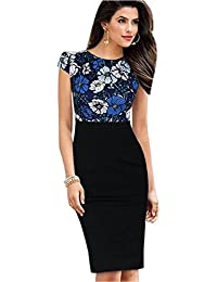 Womens Printed Ruffles Neck OL Pencil Contrasted Dress