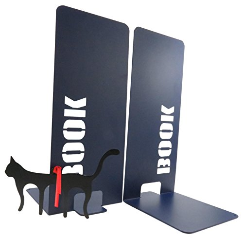 Fun Bookworm Non-Skid Metal Bookends 10 x 5.5 Inches Navy Blue with Black Cat Page Holder Bookmark (3 Piece Set) (Counter Contemporary Page)
