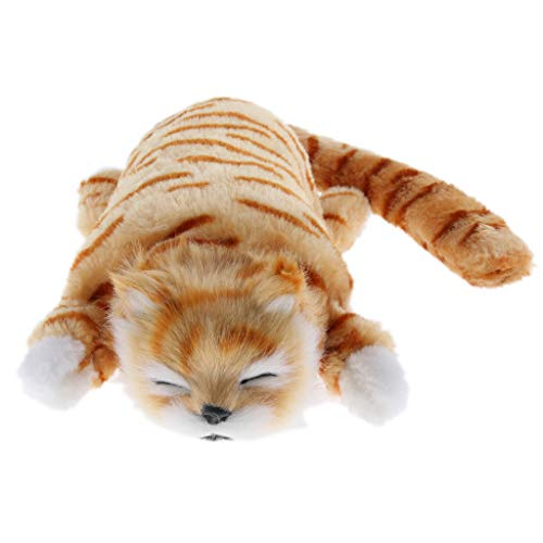 (Flameer Rolling & Laughing Cat Animal Model Toy Electronic Pet Plush Stuffed Toy Educational Gift for Kids Decor - Yellow )
