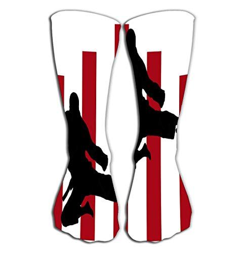 YILINGER Karate Jump Color Pattern Men's Socks High Graduated Casual Socks 19.7