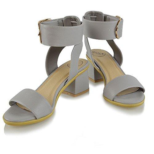Tacco Sintetica Peep Essex Grigio Glam Sandalo Pelle Alla Basso Donna Cinturino Caviglia Sintetico Toe UHXHqOSx
