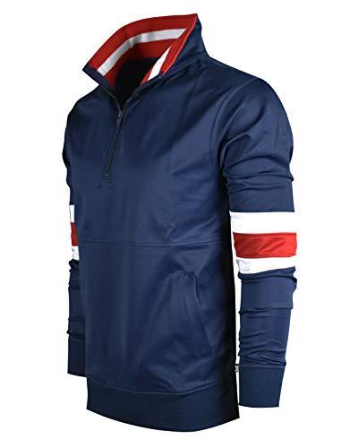 (SCREENSHOTBRAND-F11856 Mens Urban Hip Hop Premium Track Jacket - Slim Fit Side Taping Pullover Fashion Top-Navy-Medium)