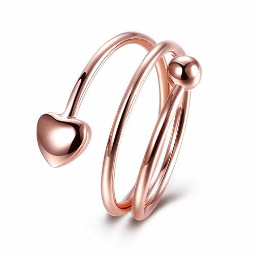 PSRINGS ringen voor vrouwen Lines Cross Rings Rose Gold Plate Heart Cocktail Rings 6.0