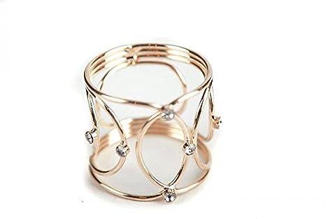 Portatovaglioli in metallo a forma di corona con gioielli, 3 colori, per cene di Natale, nozze ed altri eventi, confezione da 6 Gold 3colori Decor Trader