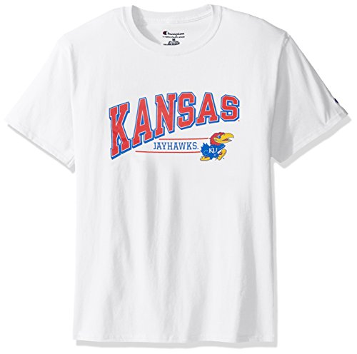 (NCAA Kansas Jayhawks Men's Champ Short Sleeve T-Shirt 4, Large, White)