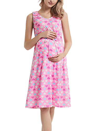 GINKANA Womens Maternity Labor Delivery Gown Hospital Nightgown Nursing Breastfeeding Tank Dress Pink