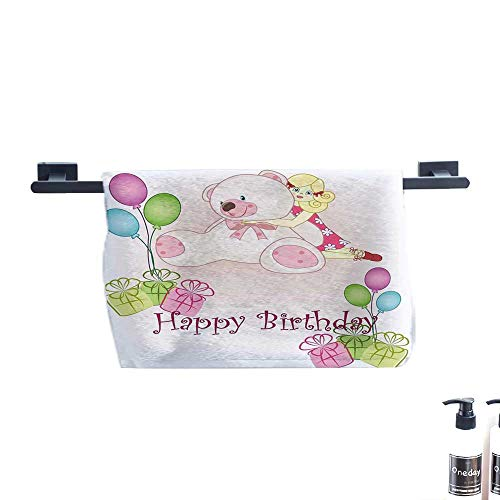 warmfamily Kids Birthday Beach Towel Baby Girl Birthday with Teddy Bears Toys Balloons Surprise Boxes Dolls Image W12 x L35 Pale Pink from warmfamily