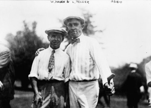 early 1900s photo W. Hagen & L. Tellier Hagen and Tellier holding golf clubs. g2 ()