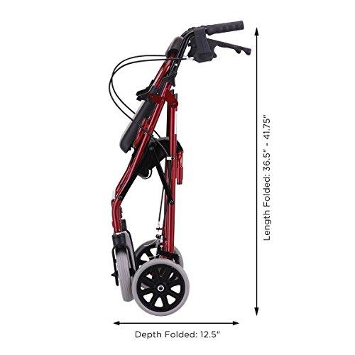 NOVA 22'' Zoom Rollator Walker, Red by NOVA Medical Products (Image #3)