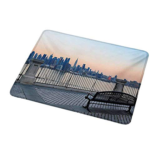 Gaming Mouse Pad Custom Design Mat Landscape,Bench in New York City Midtown Manhattan Sunset Hudsn River Skyline Scenery Photo,Non-Slip Rubber Base Ideal for Keyboard,PC and Laptop -
