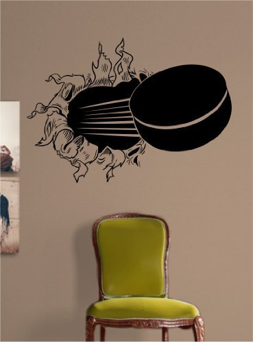 Extra Large Ice Hockey Puck Ripping Bursting Through Wall Vinyl Wall Decal Sticker Art Sports Kid Children Ball Nursery Boy Teen Sticker Wall Mural Art Graphic Sports Teen Kid Nursery