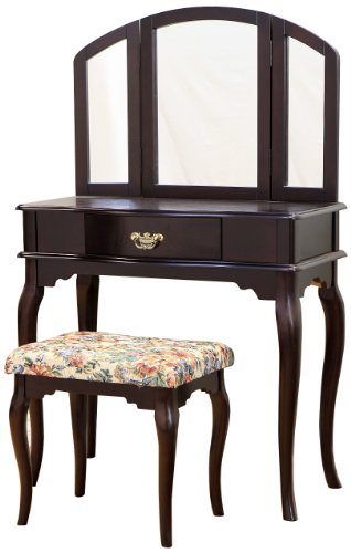 Frenchi Home Furnishing Queen Anne Style 3-Piece Vanity Set w/stool, Espresso Finish - bedroomdesign.us