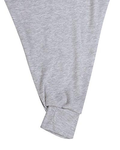 StyleDome Camiseta Larga Mujer Elegante Mangas Largas Oficina Escote Barco Casual Gris