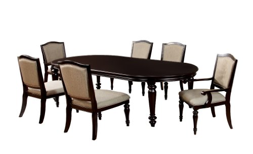 Furniture of America Glentelle 7-Piece Formal Dining Table Set with 20-Inch Expandable Leaf, Dark Walnut Finish