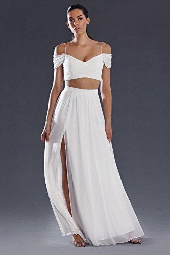 Kleid Weiß Stück 2 Jadore Crêpe Aufgeteilt Weiß Bein jx081 YqRndp