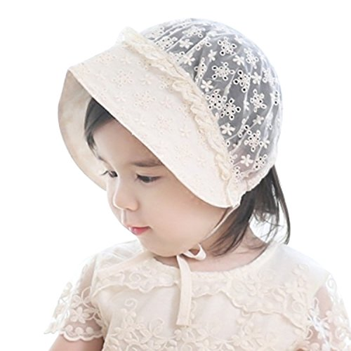 Baby Girls Lacy Bonnet Eyelet Lace Breathable Cotton Adjustable Sun ()