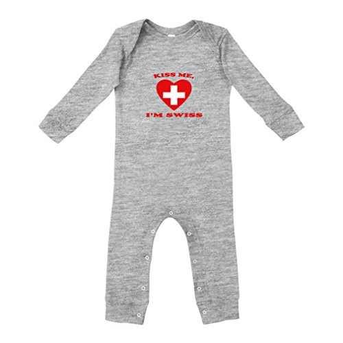 Kiss Me I Am Swiss Cotton Long Sleeve Envelope Neck Unisex Baby Legged Long Rib Coverall Bodysuit - Oxford Gray, 12 Months (Kisses Ring Swiss)