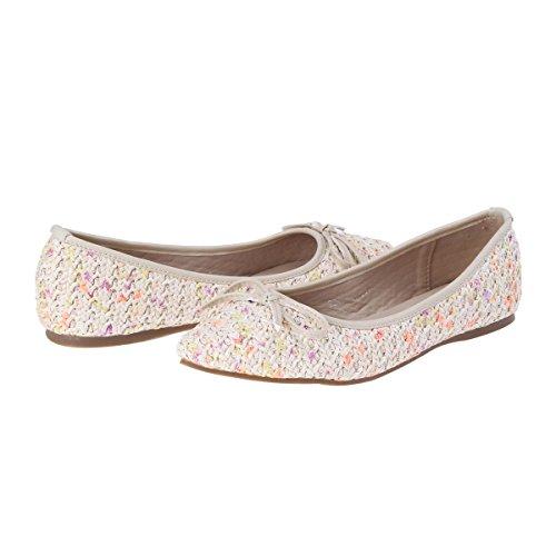 Damara Moda Mujeres Zapatos Tejados Con Lazo Bailarinas Con Punta Amarillo