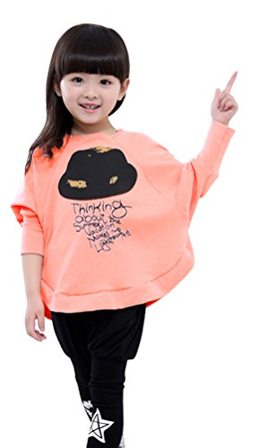 Junior Girl Bat Wing Long Sleeve Loose Blouse Upper And Tights Outfit Set Pink (Wing Set Upper)