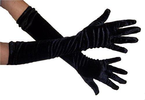 Long Velvet Gloves (Jacobson Hat Company Women's Adult Velvet 20.5 Inch Long Gloves, Black, One Size)