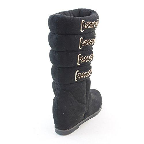 New Brieten Womens Buckle Rhinestone Wide Mid-calf Comfort Snow Boots 7HgG5suLe