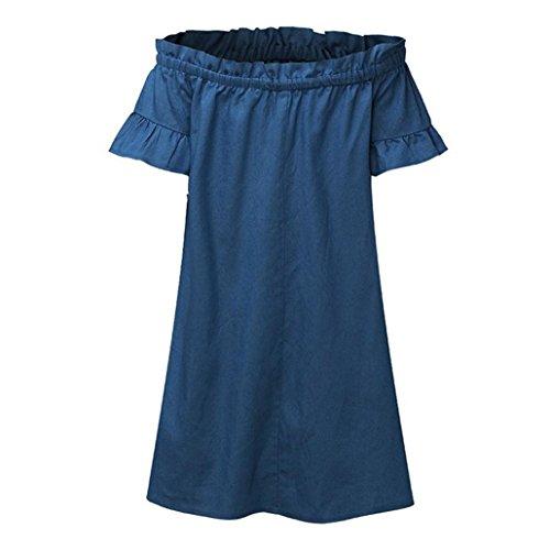 Sera vintage Pizzo Vestito Lungo Blu Barchetta Alla Denim Da Scollo abito Lunghe Jeans Moda Donna A Taglie Forti Di Abito Coctel Con Yanhoo Elegante Camicie gonne Vestiti In wtqOfO