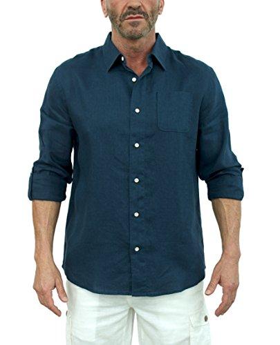 Short Fin Button Down Linen Shirt (Navy, Size Large, L8060L)