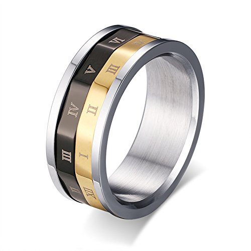 [ColorGift Men Women Gold Black Spinner Stainless Steel Roman Numerals Rings] (Cheap Roman Costumes)