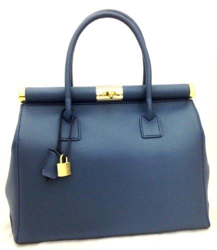 Beige poignées Italy Made Satchel in Bag cuir bandoulière CTM véritable femme Bleu 35x28x16cm élégante en x4UHwwqn