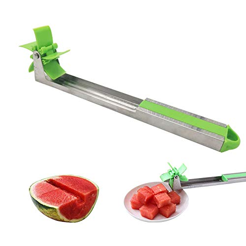 Watermelon Windmill Slicer Cutter-Auto Stainless Steel Melon Cuber Knife-Fruit Vegetable Salad Fast/Easy Cut Tool,Gift For Girls Mom Friends,Must Have Melon Kitchen Gadget