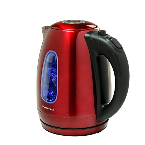 Ovente KS960R Electric Kettle, Cordless Tea and Water Heater, Automatic Shut-Off & Boil-Dry Protection, BPA-Free, Stainless Steel, Concealed Heating Element, 1.7L, Red