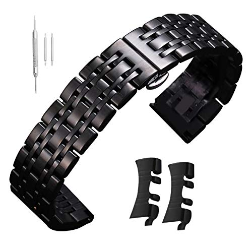 22mm Watch Band Stainless Steel Strap Black 12mm-24mm Business Replacement with Straight Curved End Black