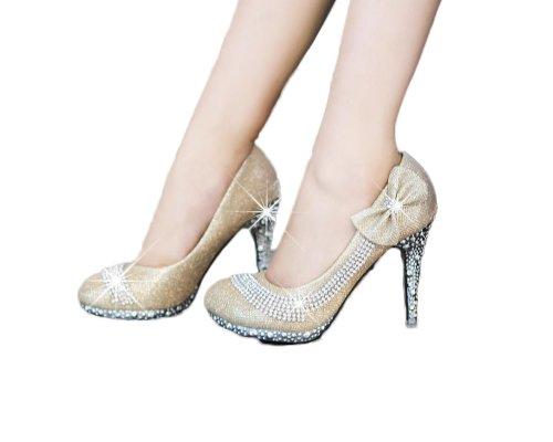 Womens Pump Jane Fashion High Gold Foot Stiletto Charm Heel Bows Mary Platform v4wSTtq