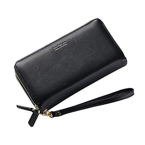 Colore nero Bifold in donna Borsa around portafoglio zip Portafoglio tracolla around pelle a qwXF7P